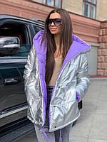 Жіноча зимове двостороння куртка на силіконі, фото 4