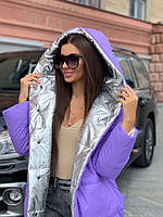 Жіноча зимове двостороння куртка на силіконі, фото 5