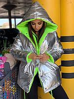 Жіноча зимове двостороння куртка на силіконі, фото 8