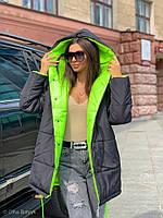 Жіноча зимове двостороння куртка на силіконі, фото 9