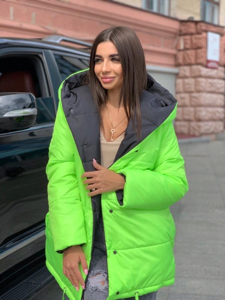 Жіноча зимове двостороння куртка на силіконі