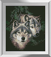 31334 Волки в лесу. Dream Art. Набор алмазной живописи (квадратные, полная)