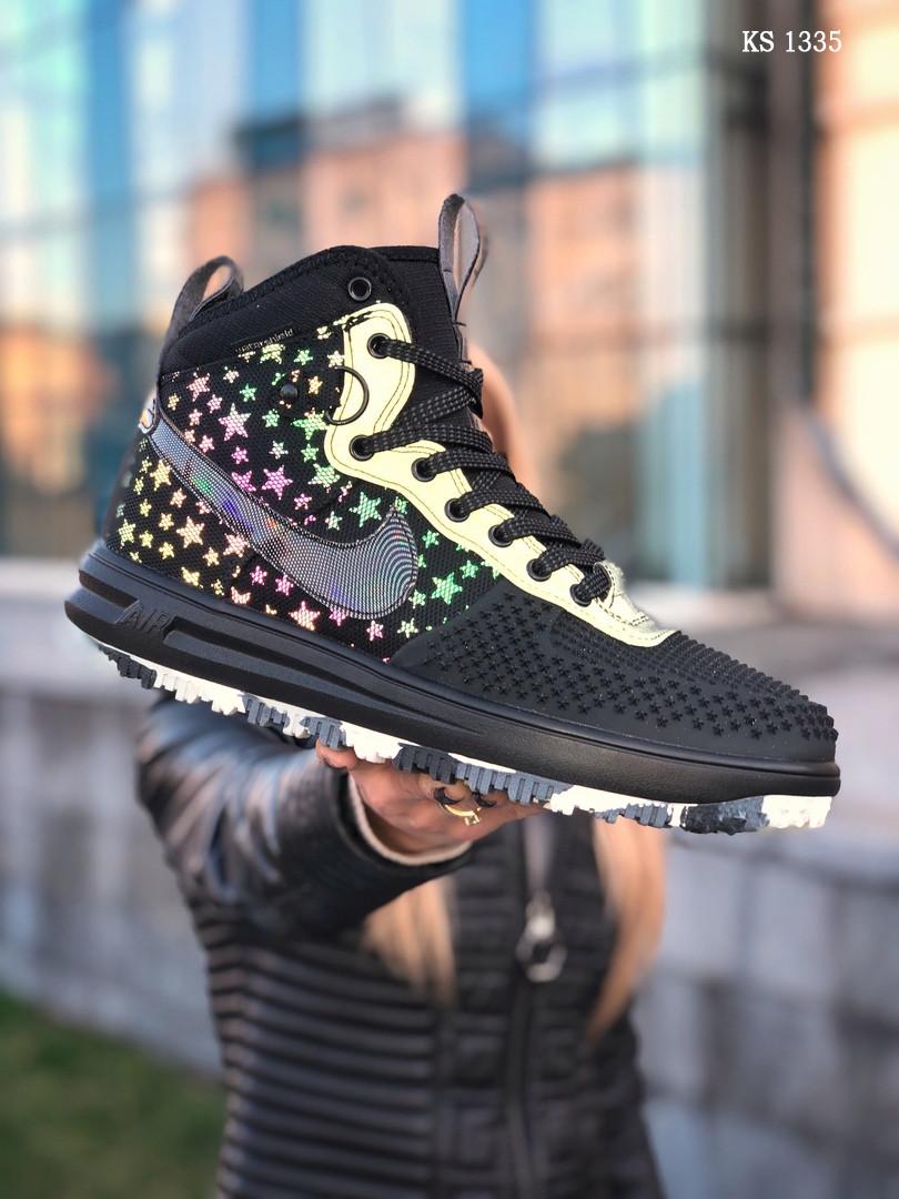 Мужские высокие кроссовки Nike LF1 DUCKBOOT 17 (черные/ звездочки)
