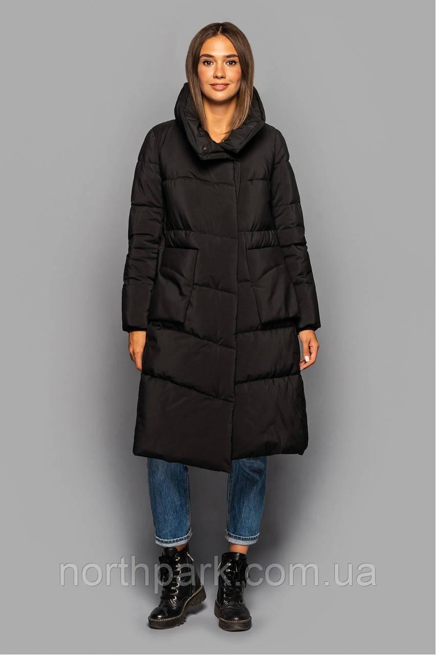 Асиметричне зимове пальто KTL-357 з накладними кишенями