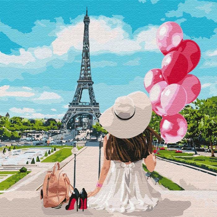 Картина по номерам - Гуляя по улицам Парижа Идейка 40*40 см. (КНО4756)
