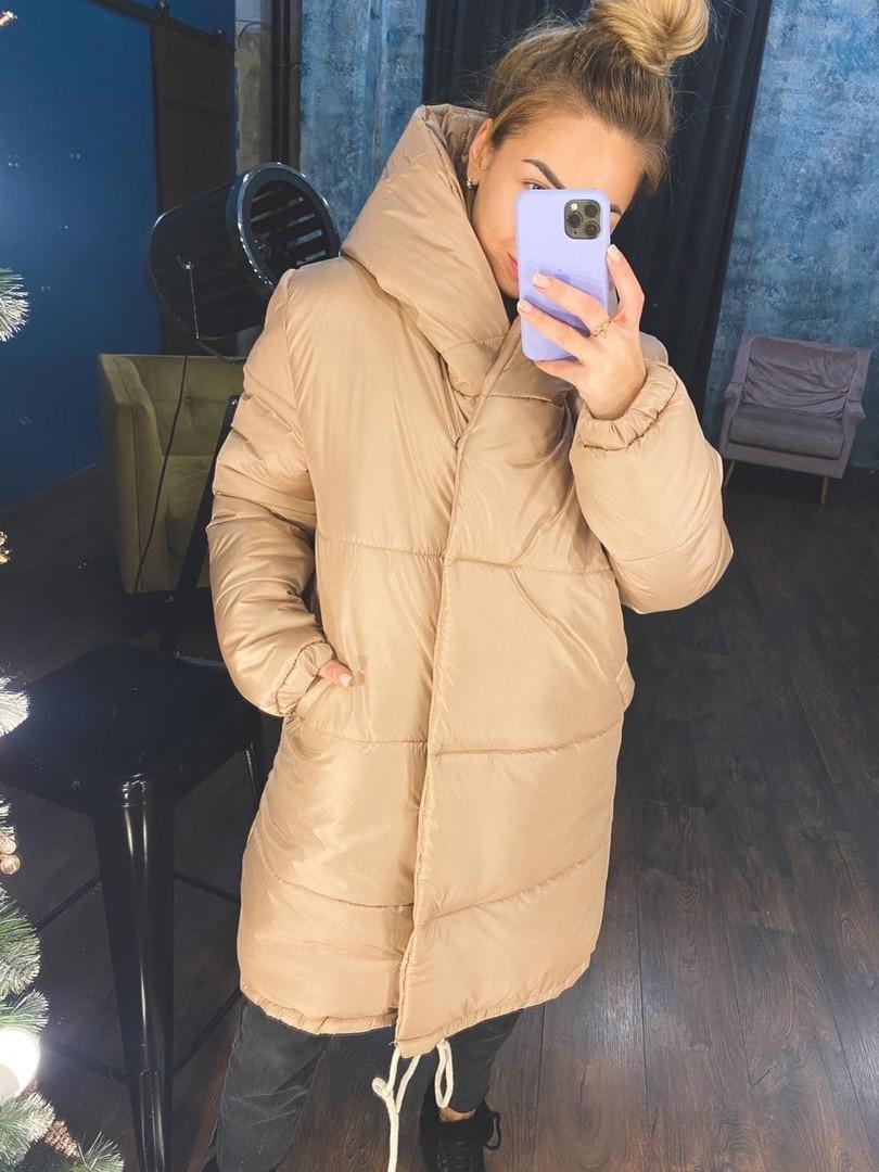 Жіноча тепла куртка зефирка з капюшоном в кольорах (Норма)