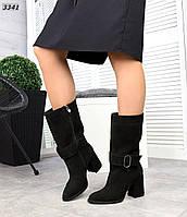 Жіночі замшеві демісезонні чоботи на підборах 35 р чорний