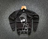 Теплый мужской зимний свитшот черный: барт / ОСЕНЬ-ЗИМА