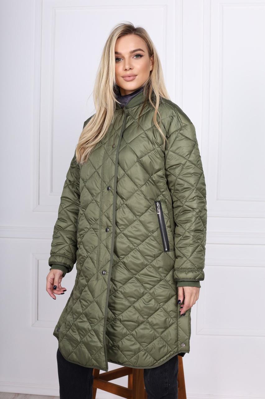 Удлиненная стеганая куртка женская 42-46 (в расцветках)