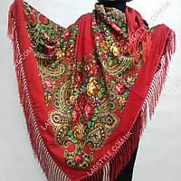 Платок большой ТАН УКРАИНСКИЙ РАСПИСНОЙ 155Х155СМ (с бахромой) красный