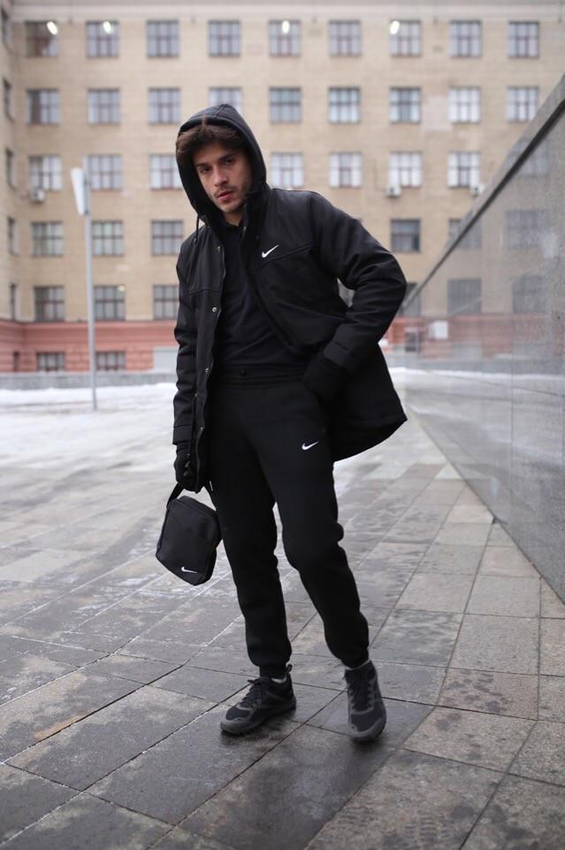 Мужской зимний спортивный комплект Nike, перчатки и барсетка в подарок