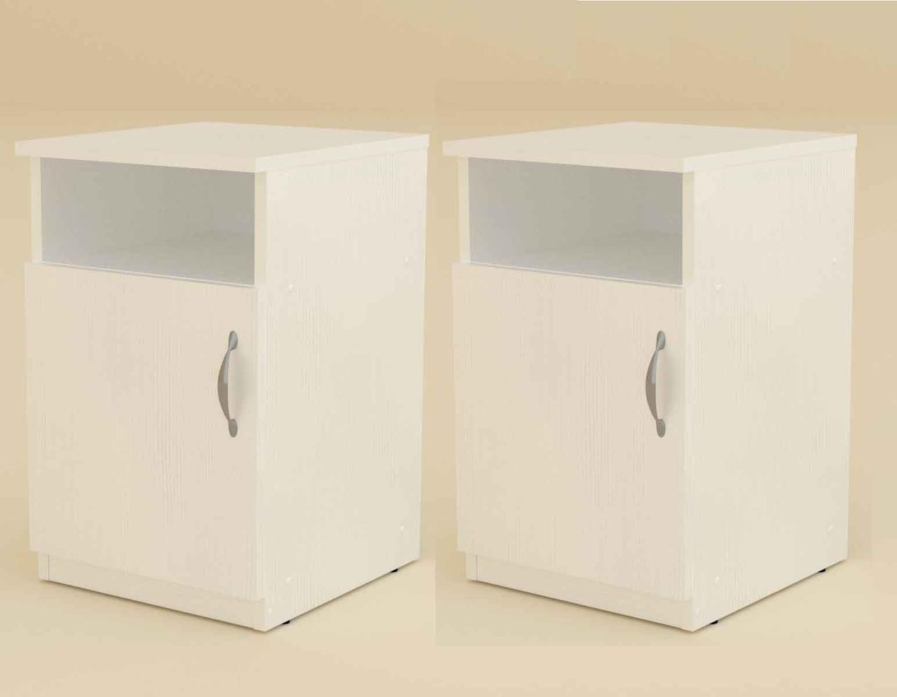 Тумба прикроватная ПКТ-1 (комплект 2 шт) белый Компанит (35х38х55 см)