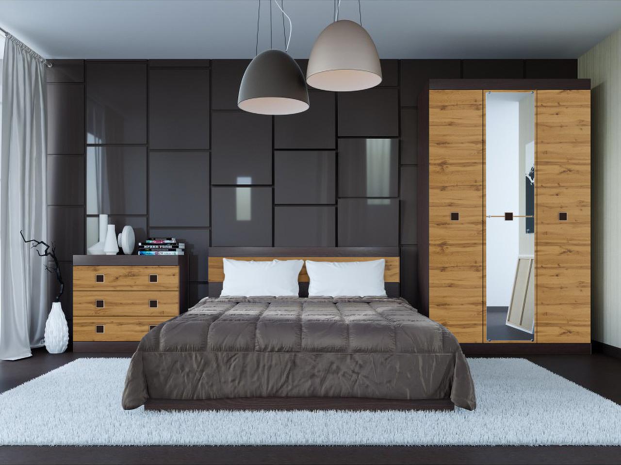 Спальня комплект 1 с зеркалом ЭВЕРЕСТ Венге темный + Аппалачи