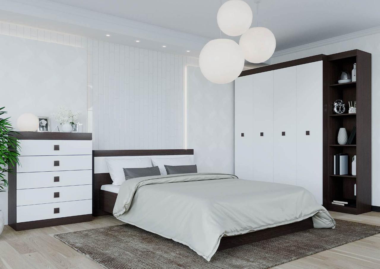 Спальня комплект 3 ЭВЕРЕСТ Венге темный + Белый