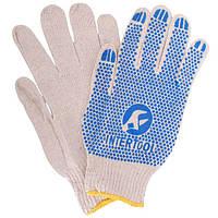 Перчатка хлопчатобумажная трикотажная с резиновым вкраплением с одной стороны (ПВХ синяя) Intertool SP—0134