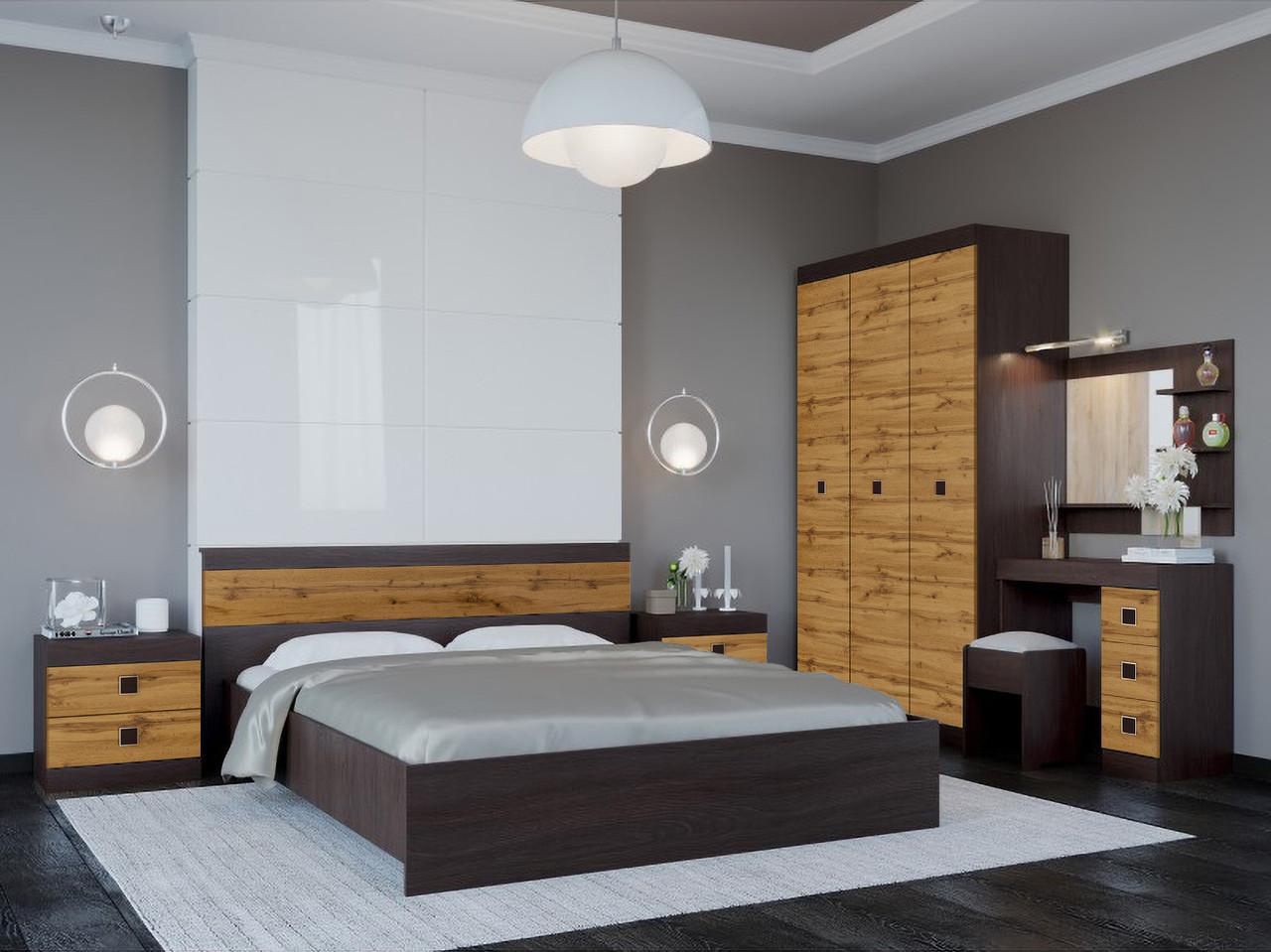 Спальня комплект 4 ЭВЕРЕСТ Венге темный + Аппалачи