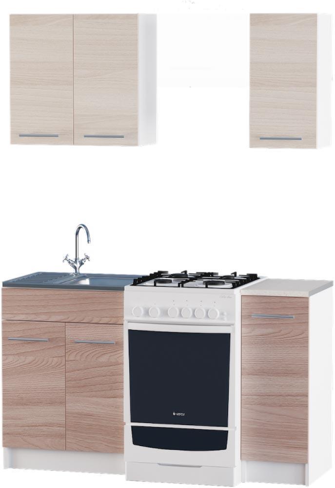 Кухня Эко №2 набор 0.9 м ЭВЕРЕСТ Белый + Шимо светлый + Шимо темный