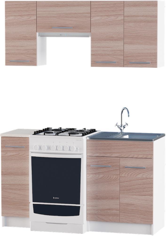 Кухня Эко №2 набор 1.4 м ЭВЕРЕСТ Белый + Шимо темный