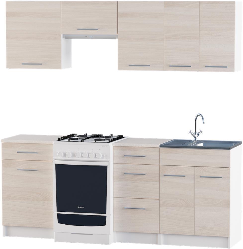 Кухня Эко набор 2.0 м ЭВЕРЕСТ Белый + Шимо светлый