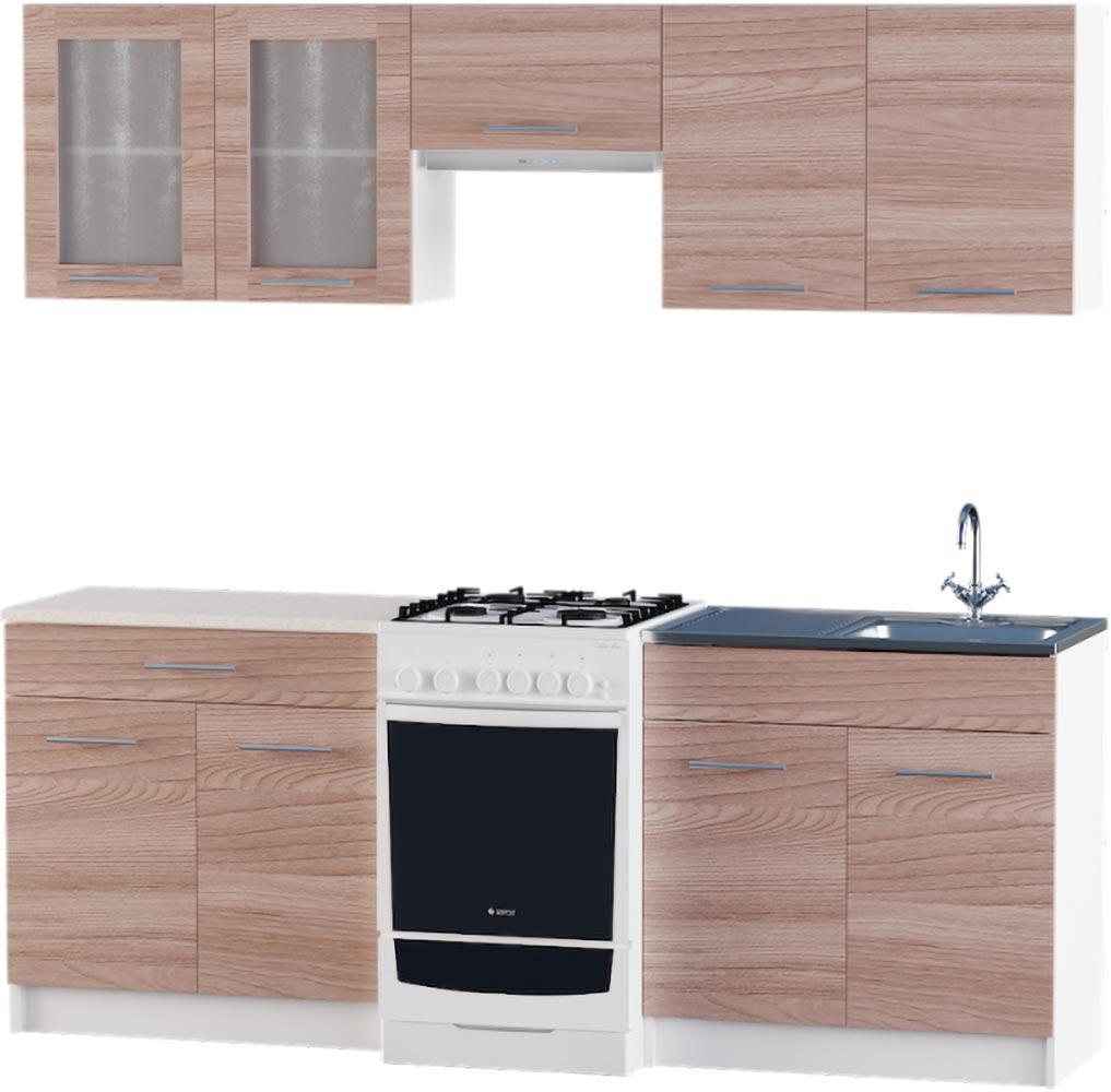 Кухня Эко №2 набор 2.1 м ЭВЕРЕСТ Белый + Шимо темный