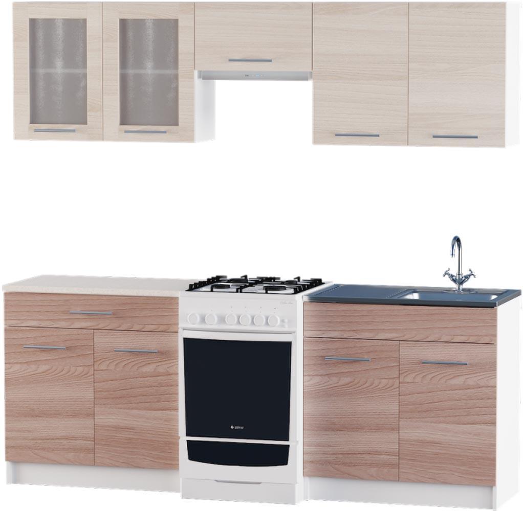 Кухня Эко №2 набор 2.1 м ЭВЕРЕСТ Белый + Шимо светлый + Шимо темный