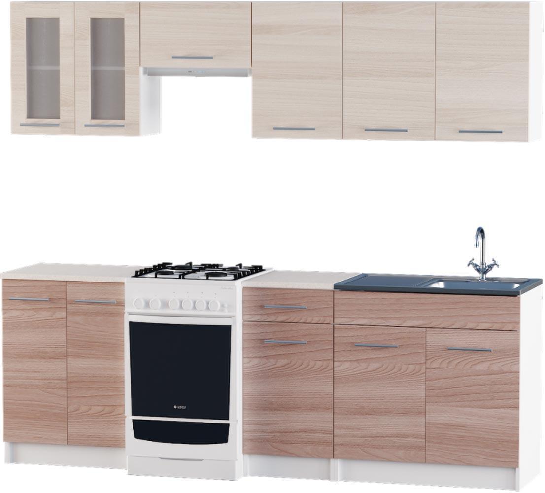 Кухня Эко набор 2.3 м ЭВЕРЕСТ Белый + Шимо светлый + Шимо темный