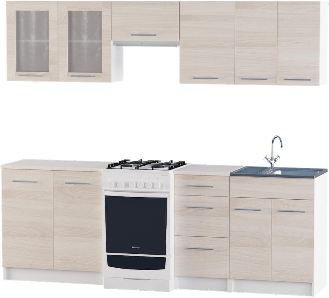 Кухня Эко №2 набор 2.3 м ЭВЕРЕСТ Белый + Шимо светлый
