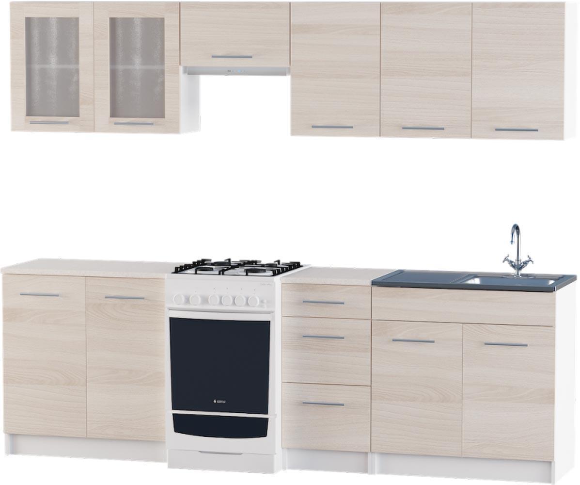 Кухня Эко набор 2.5 м ЭВЕРЕСТ Белый + Шимо светлый