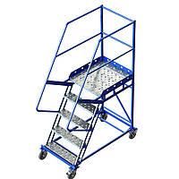 Лестница платформенная Н 1250 мм, передвижная стальная складская лестница