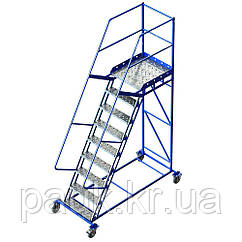 Лестница платформенная Н 2250 мм, стальная передвижная лестница