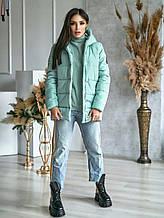 Тепла зимова жіноча куртка з капюшоном, плащівка, різні кольори р. 44,46,48,50 Код 270Ч
