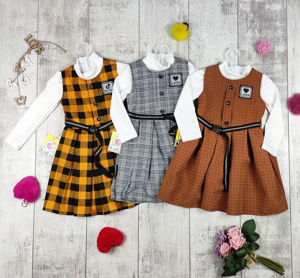 Платья детские для девочек сарафном с туникой