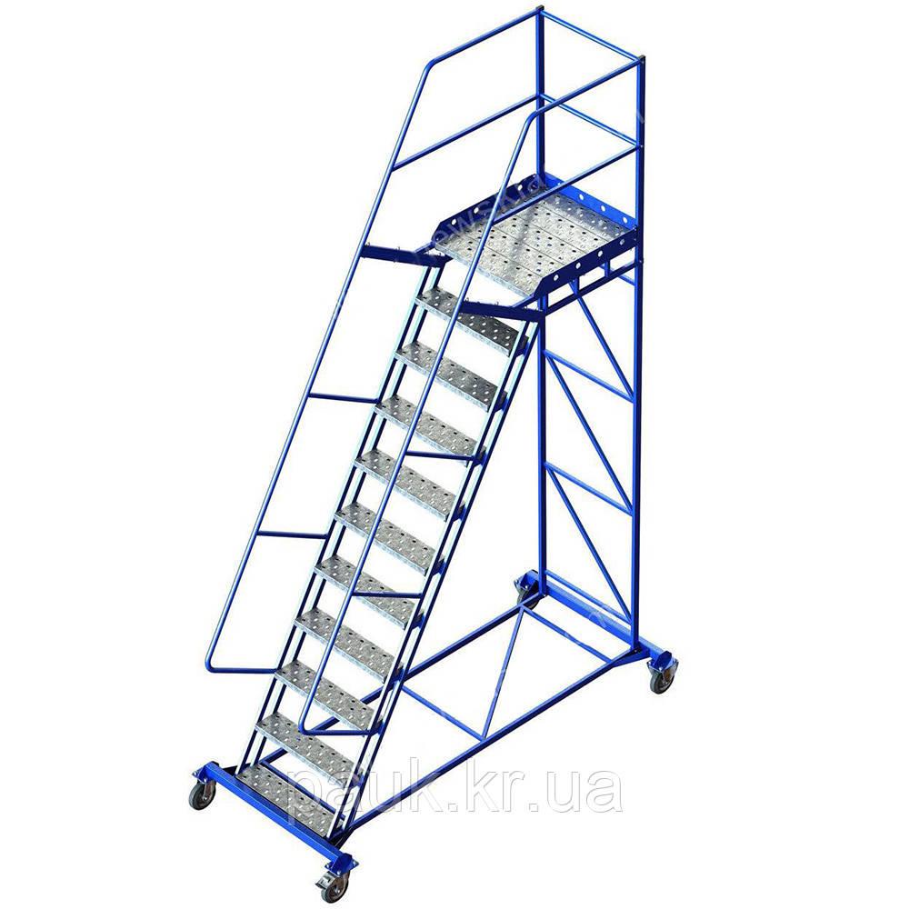 Складская лестница Н2750 мм, лестница-платформа на колесах