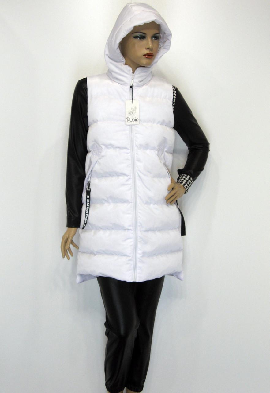 Жіноча біла куртка жилетка з капюшоном