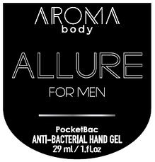 Антисептик 29мл 1шт AROMA BODY ALLURE, гель для рук санитайзер для мужчин PocketBac For Men парфюмированный,, фото 2