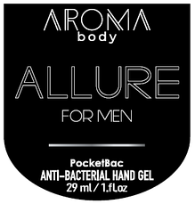 Антисептик 29мл 1 шт AROMA BODY ESSENTIAL, гель для рук санитайзер для мужчин PocketBac For Men, фото 2