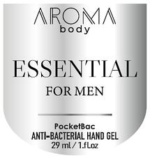 Антисептик 29мл 1 шт AROMA BODY ESSENTIAL, гель для рук санитайзер для мужчин PocketBac For Men, фото 3