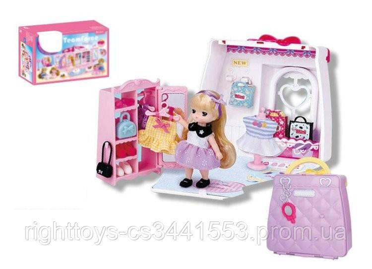 Набор игровой QL052 (24шт) гардеробная комната, кукла10см, склад.в сумку, в кор-ке,37-26-9см