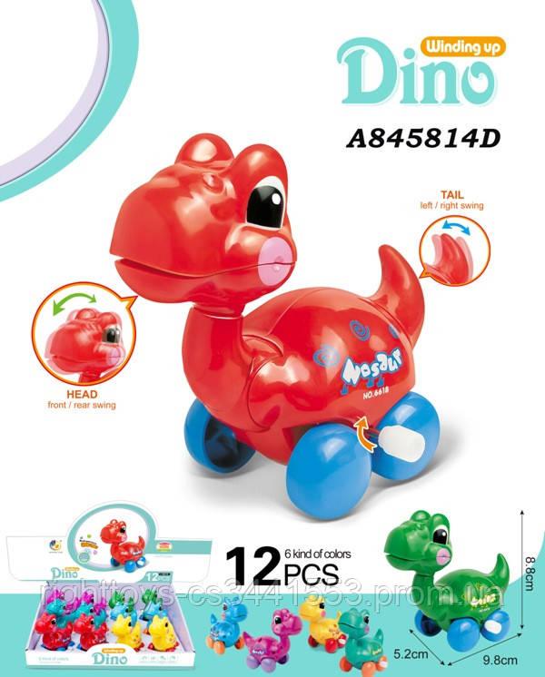 Заводна іграшка 6618 (384шт) динозавр,9см,їздить,підв.дет,12шт(5цветов)в дисплеї, 30,5-22,5-9см