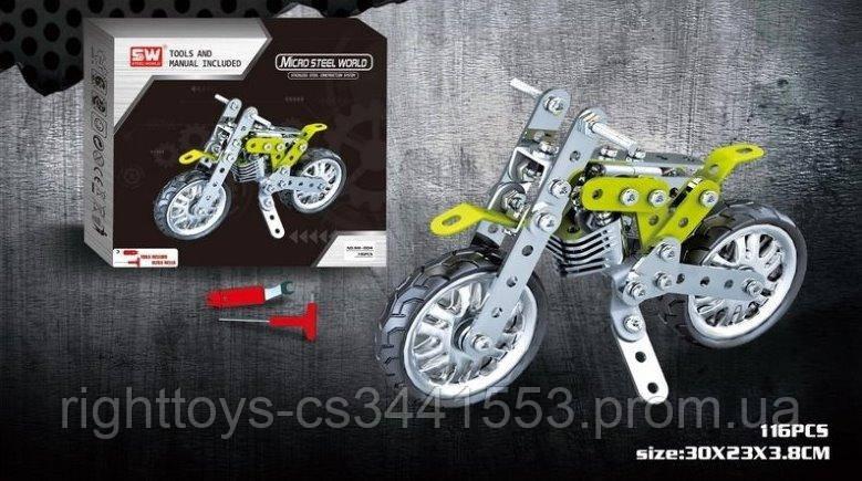 Конструктор SW-004 (24шт) металл, мотоцикл, отвертка, 120дет, в кор-ке, 36-23,5-4см