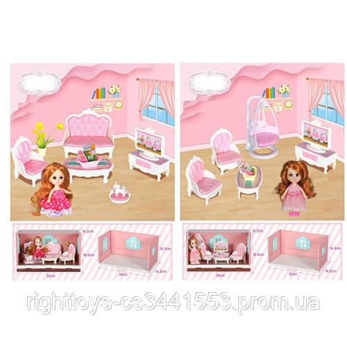 Мебель VC030D-H (18шт) кукла 12см, 2вида(гостинная/игровая), в слюде,30-18-16,5см