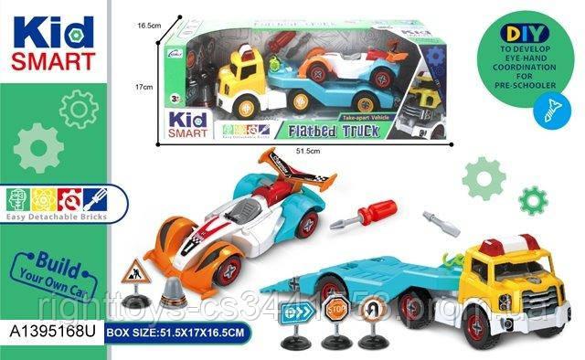 Конструктор KM-294A (16шт) на шурупах, трейлер40см,машинка, інструменти, в кор-ке,52-17-16,5 см