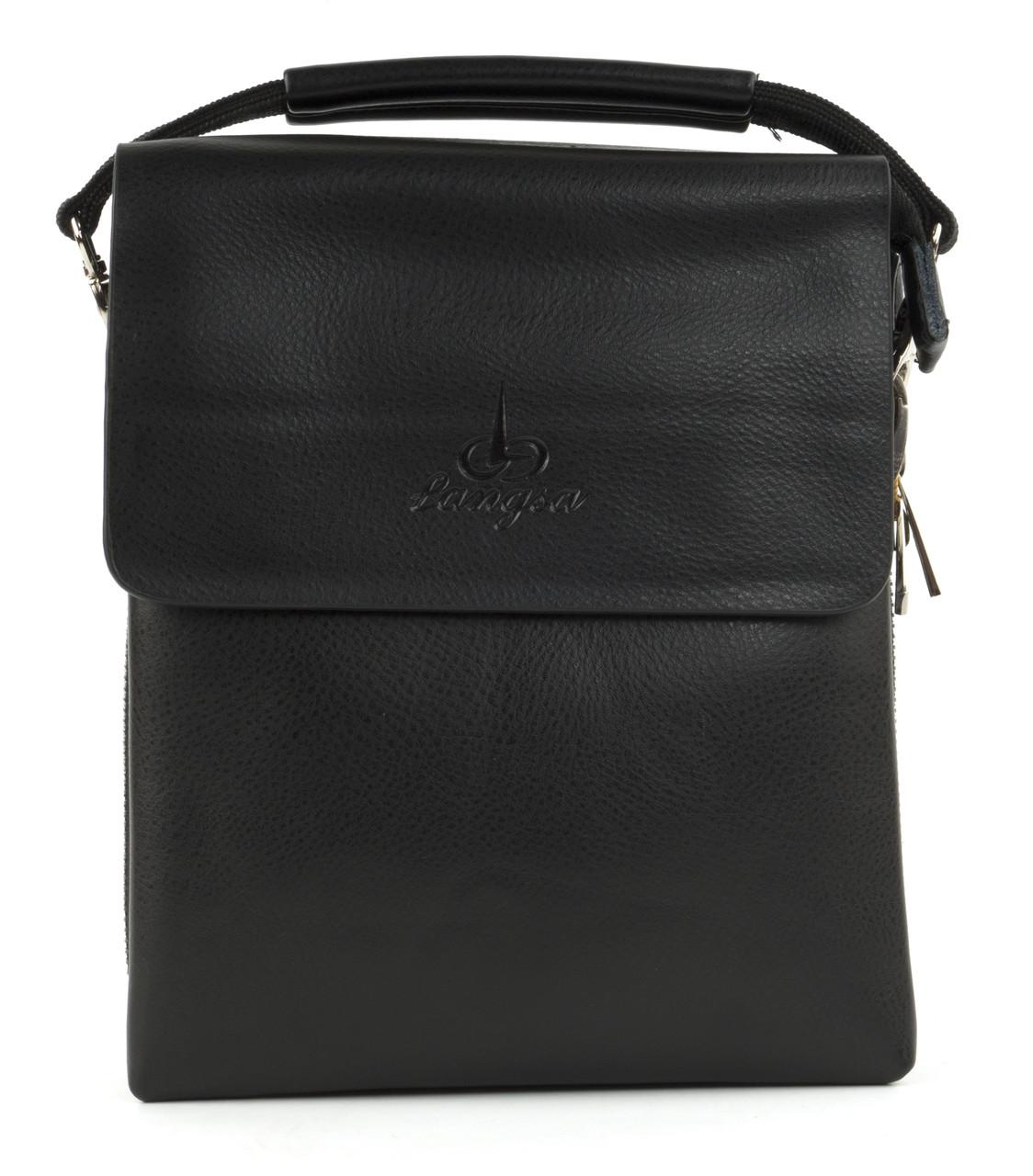 Зручна чоловіча стильна сумка Langsa art. 6738-2 чорний