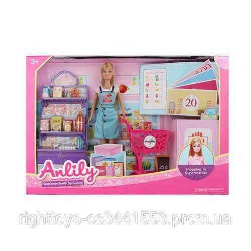 Лялька 99281 (12шт) 29см, супермаркет, кошик, продукти, монети, в кор-ке, 50-32-8,5 см