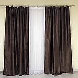 Сонцезахисні штори   Штори льону блекаут софт   Готові штори   100% захист від сонця   Шоколадні штори  , фото 2