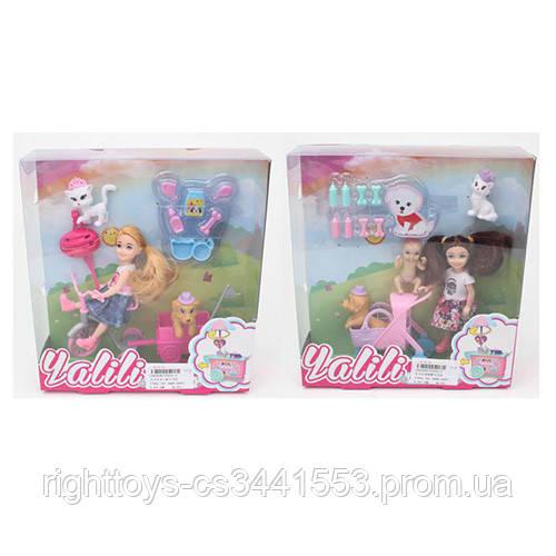 Кукла YT043-4-5 (40шт) 13см, собачка, кошка, 2в(велосипед с прицепом/коляска,пупс), в кор, 22-24-7см