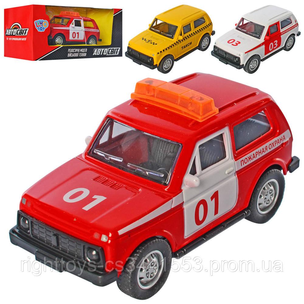 Машина AS-2770 (72шт) АвтоСвіт, металл,10см,3вида(пожарная,скорая, такси), в кор-ке,16,5-7-6см