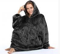 Плед толстовка двухсторонняя Huggle Hoodie халат с капюшоном и рукавами унисекс черный