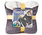 Плед толстовка двухсторонняя Huggle Hoodie халат с капюшоном и рукавами унисекс серый, фото 5