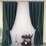 Солнцезащитные шторы   Шторы льна блэкаут софт   Готовые шторы   100% защита от солнца   Зеленые шторы  , фото 2